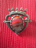 Vintage signed Miracle Brooch - Luckenbooth Heart-Red Striped Stone Brooch